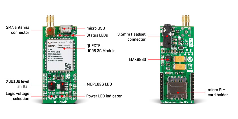 Mikroe Wireless Connectivity 3G-AA Click (for United States)
