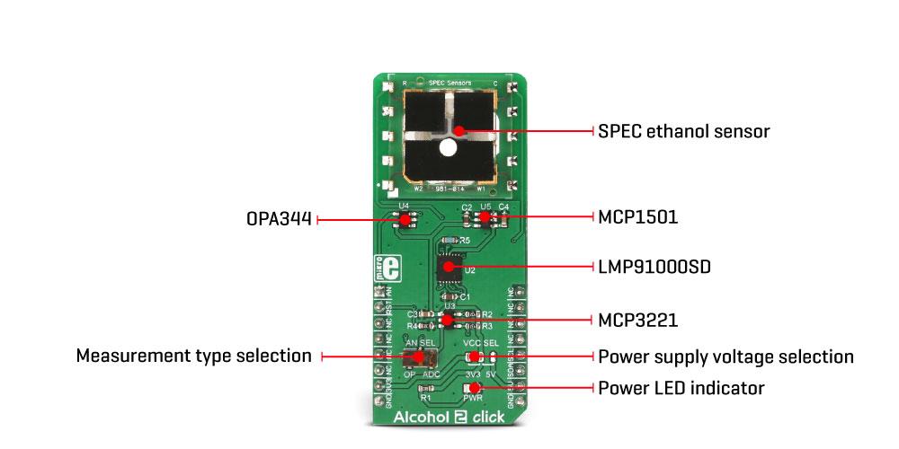 Mikroe Sensors Alcohol 2 Click