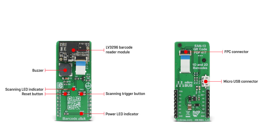 Mikroe Sensors Barcode click