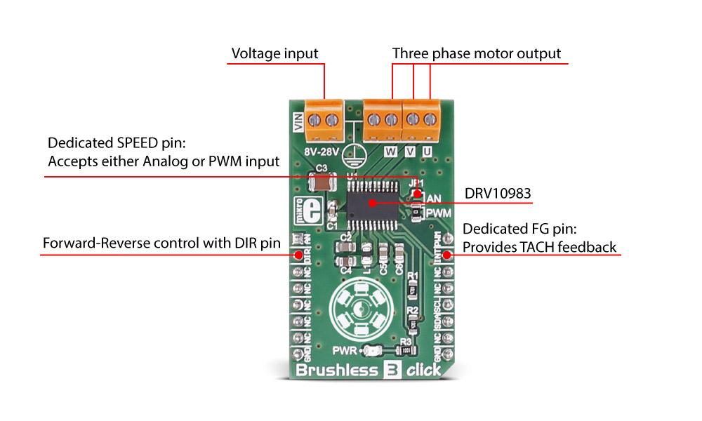 Brushless 3 click - a three-phase sensorless motor driver