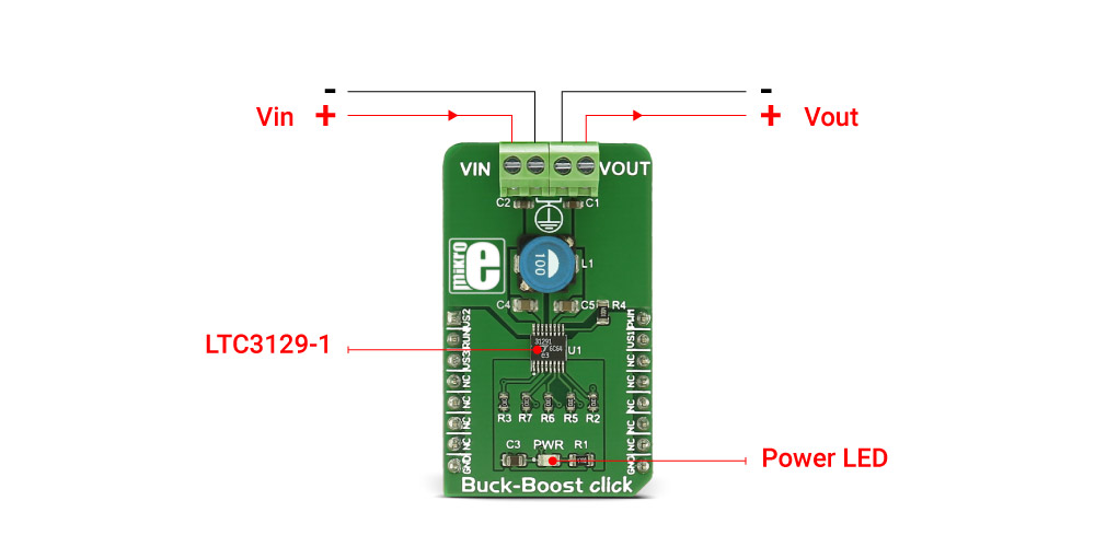 Mikroe Power Management Buck-Boost click