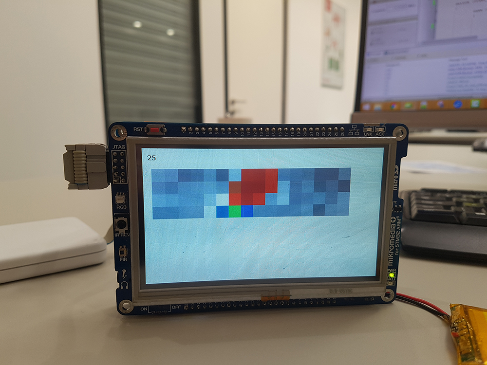 mikromedia Plus for STM32 - 16x4 matrix is displayed