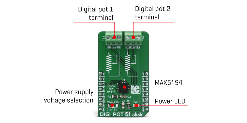 digi pot 4 click mikroelektronika digital dual potentiometer. Black Bedroom Furniture Sets. Home Design Ideas