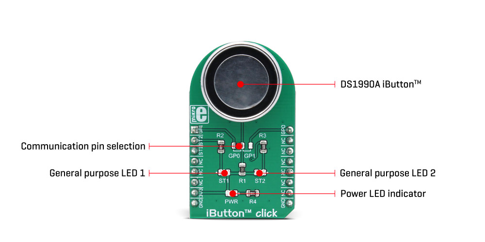 MikroElektronika Click Boards Interface iButton™ click