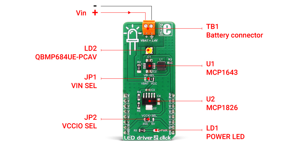 High Brightness 3w Led Is Already Attached To The Output Of Mcp1643 And It Comes Soldered On Board So Circuit Ready Be Used Right Away