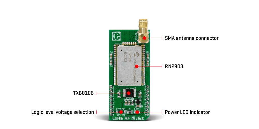 Mikroe Wireless Connectivity LoRa 2 Click