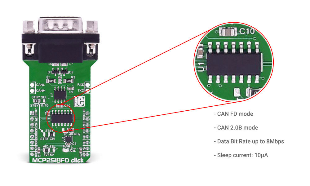Click Boards Interface MCP2518FD Click CAN bus