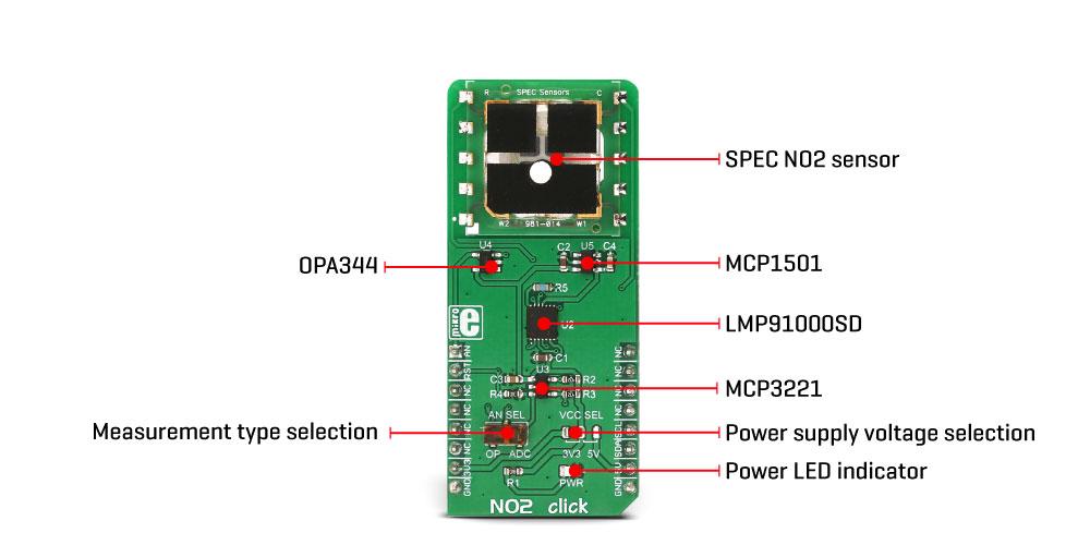 Mikroe Sensors NO2 click