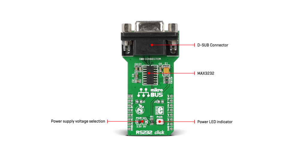 RS232 click - features a standard RS232 DB9 port and a