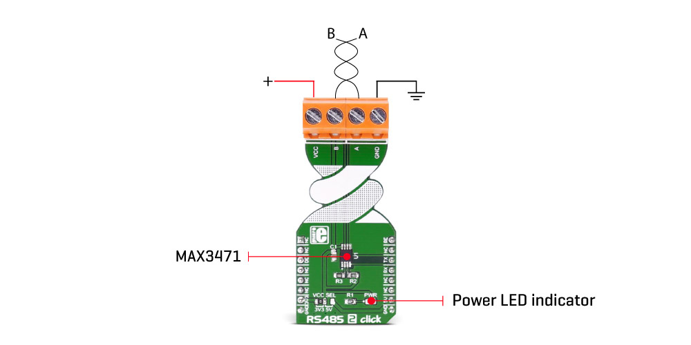 RS485 2 click - board with MAX3471 transceiver