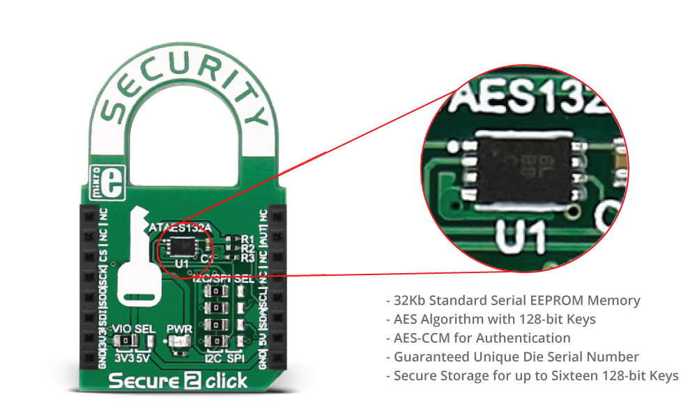 Secure 2 click - board with ATAES132A cryptographic coprocessor