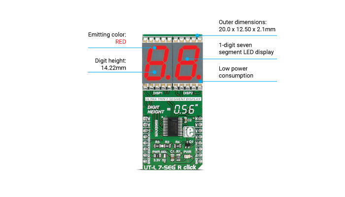 Mikroe Click Boards Display UT-L 7-SEG R click