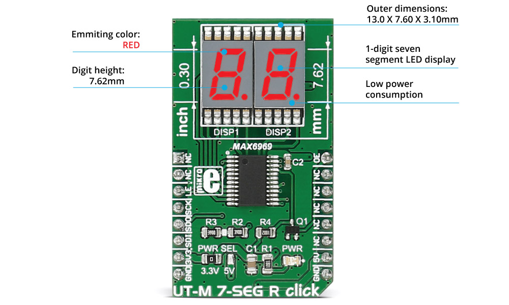 Mikroe Click Boards Display UT-M 7-SEG R click