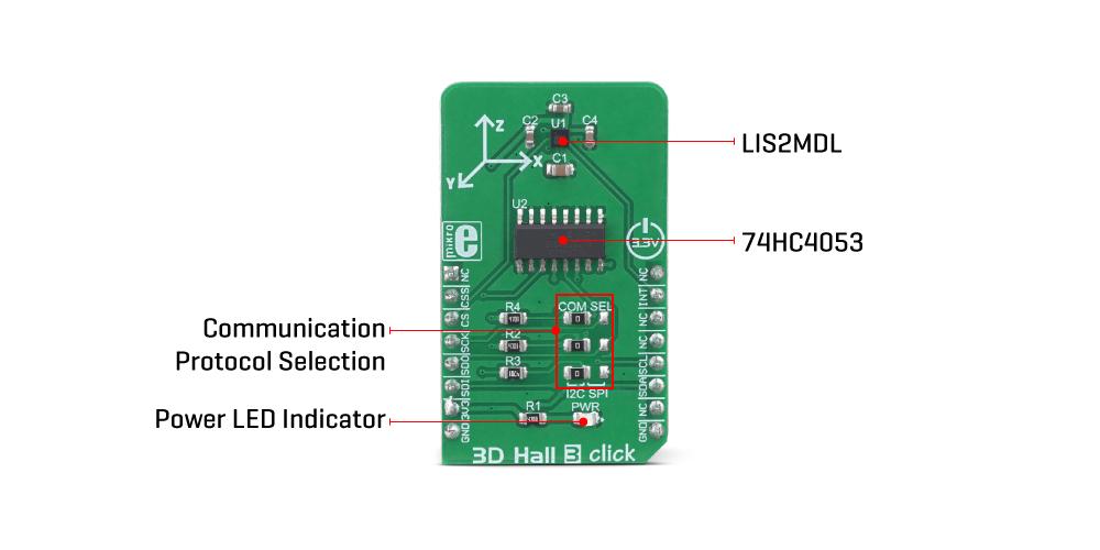MikroE Sensors 3D Hall 3 Click