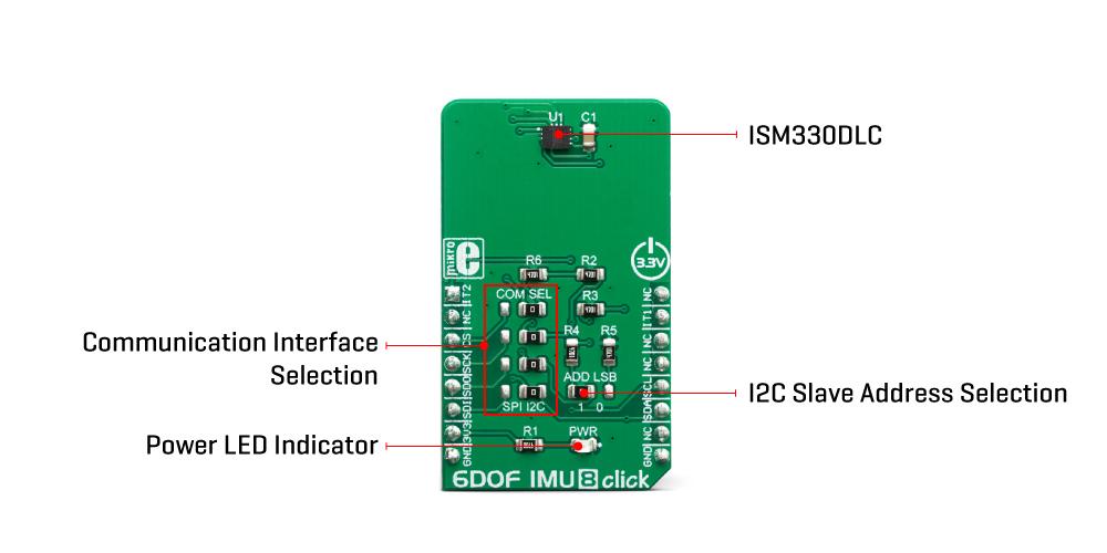 Mikroe Click Boards Sensors 6DOF IMU 8 click