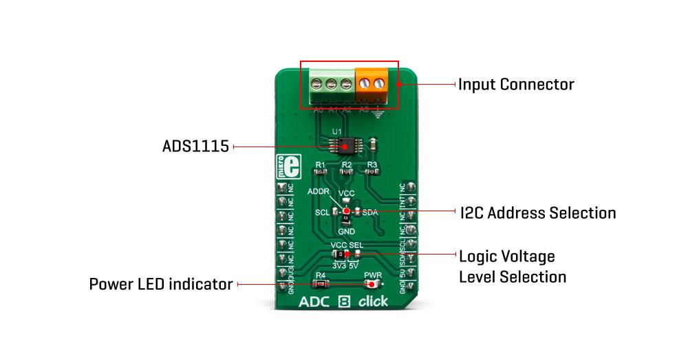Mikroe Mixed-Signal ADC 8 Click