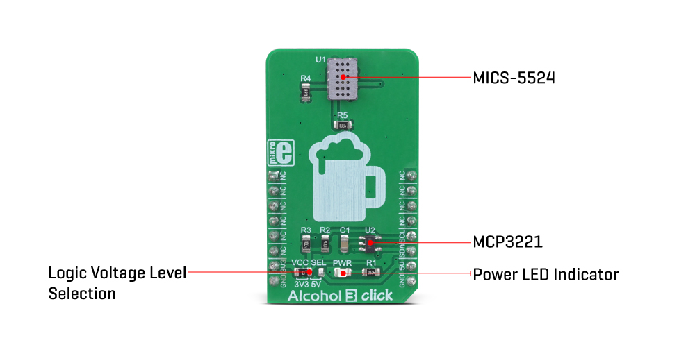 Mikroe Click Boards Sensors Alcohol 3 click
