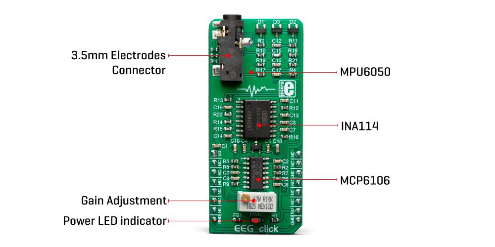 Mikroe Mixed-Signal EEG Click
