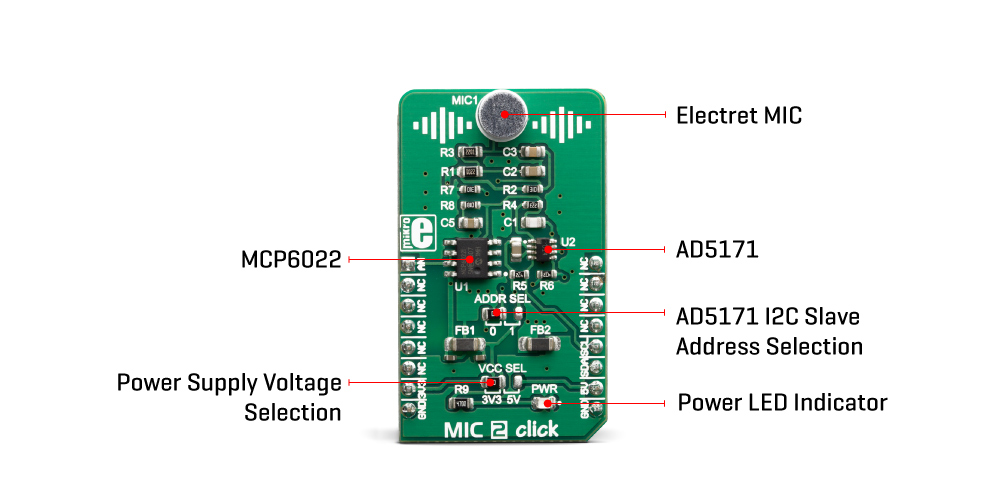 Click Boards Audio and Voic eMIC 2 Click Mikroe