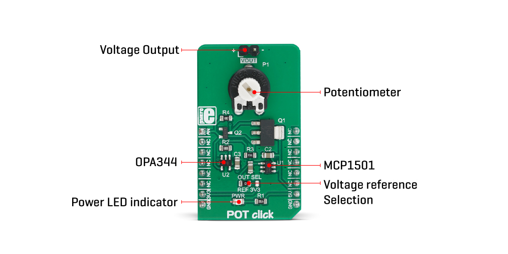Mikroe Click Boards Mixed-Signal POT Click
