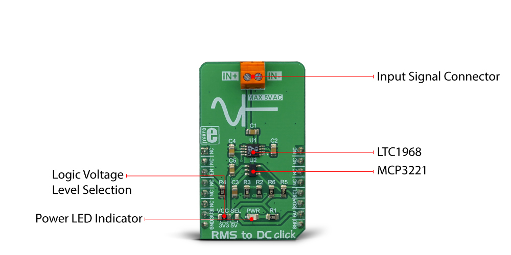 MikroElektronika Click Boards Mixed-Signal RMS to DC click
