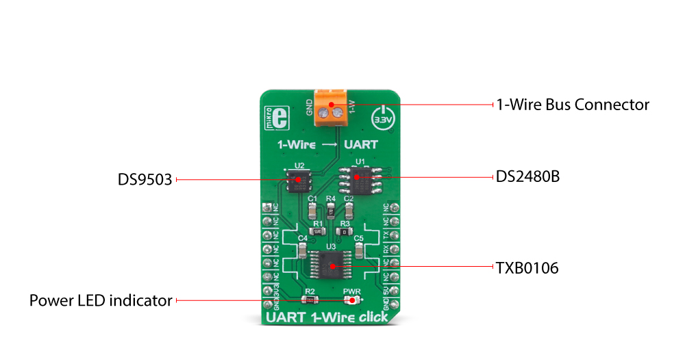 MikroE Click Boards Interface UART 1-Wire Click