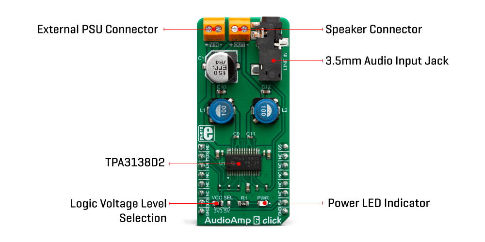 Click Boards Audio and Voice AudioAmp 6 Click