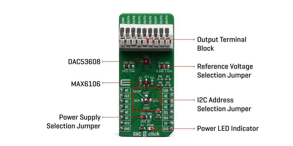 Shop Click Boards Mixed Signal DAC 5 Click