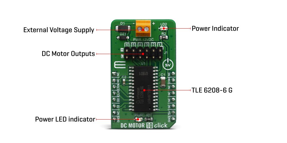 Click Boards Motor Control Brushed DC Motor 10 Click