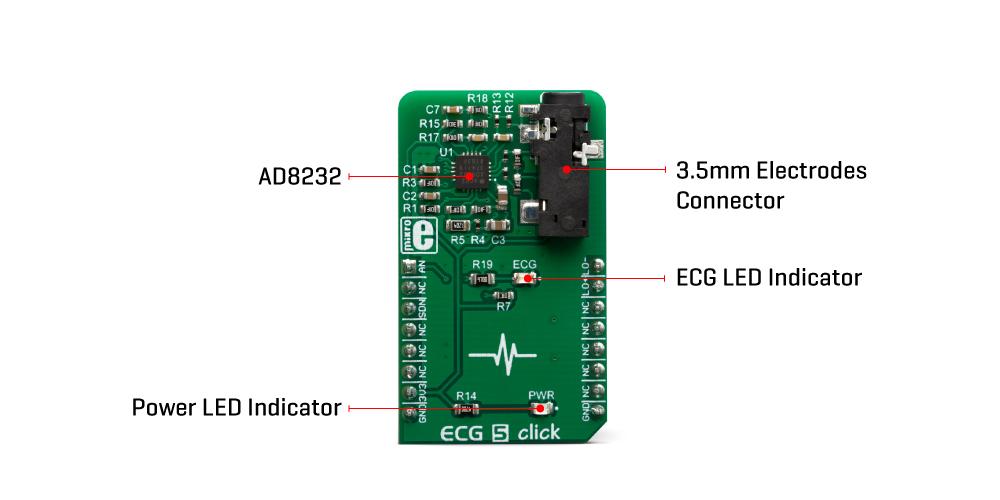 Mikroe Click Boards Sensors ECG 5 Click