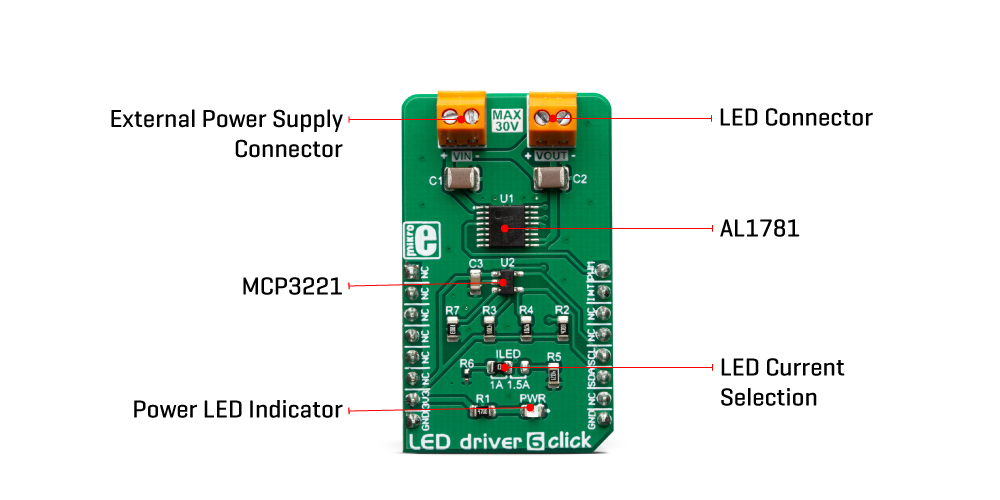 Mikroe Power Management LED Driver 6 Click