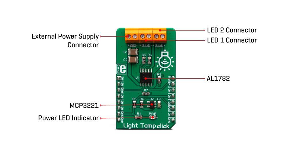 Mikroe Power Management Light Temp Click