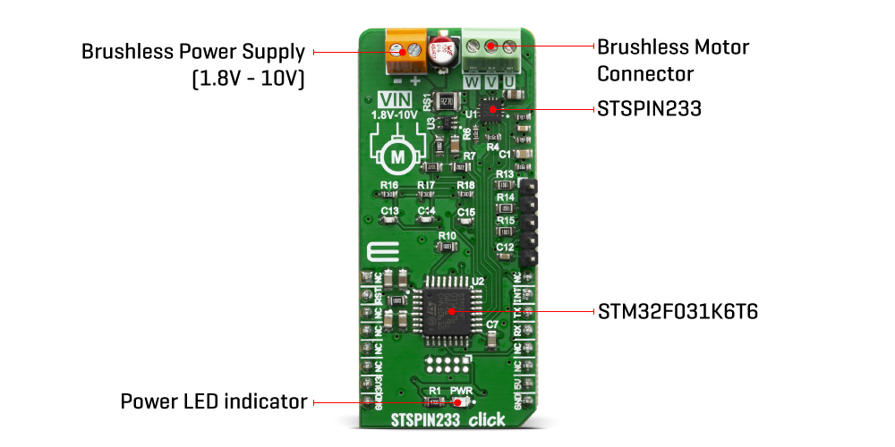 Click Boards Motor Control Brushless STSPIN233 Click